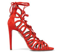 Oh Lala lace-up suede sandals