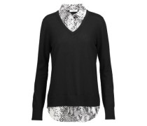 Cecile washed silk-paneled wool and cashmere-blend sweater