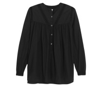 Broderie Anglaise-trimmed Cotton Top Schwarz