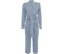 Cropped Wrap-effect Printed Crepe Jumpsuit