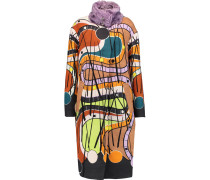 Pin Mohair And Cotton-blend And Printed Wool Coat Mehrfarbig