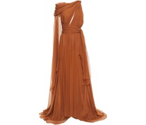 Draped Cutout Silk-voile Gown