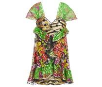 Point D'esprit-trimmed Fil Coupé Printed Silk-blend Mini Dress