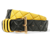 Two-tone Quilted Leather Belt Gelb