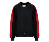 Color-block wool-blend felt bomber jacket