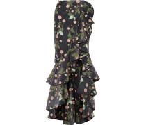 Justina Ruffled Floral-print Velvet Maxi Skirt Schwarz
