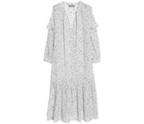 Erika Pussy-bow Floral-print Silk Midi Dress