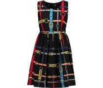 Pleated Printed Cotton Mini Dress Mehrfarbig