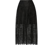 Pleated Lace Skirt Schwarz