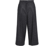 Houndstooth And Prince Of Wales Checked Wool Culottes