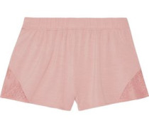 Lace-trimmed stretch-jersey pajama shorts