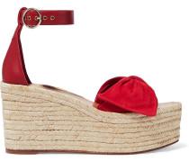 Bow-embellished Suede And Leather Platform Espadrille Sandals
