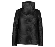 Coated Linen And Cotton-blend Down Coat Schwarz