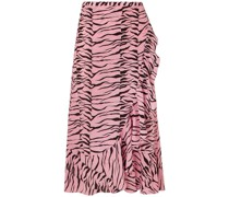 Gracie Ruffled Printed Silk Crepe De Chine Wrap Skirt