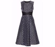 Fringe-embroidered taffeta dress