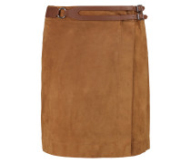Wrap-effect Leather-trimmed Suede Mini Skirt Camel