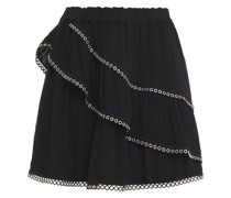 Nisia Eyelet-embellished Layered Crepe Mini Skirt