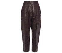 Croc-effect Faux Leather Tapered Pants