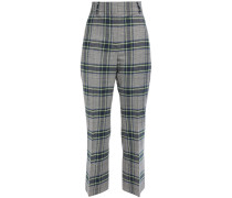 Checked Woven Kick-flare Pants