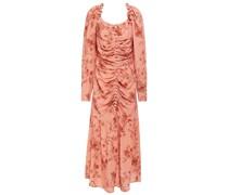 Ruched Floral-print Crepe Midi Dress