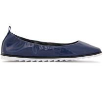 Woman Vivi Faux Patent-leather Ballet Flats Navy