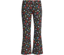 Floral-print low-rise flared jeans