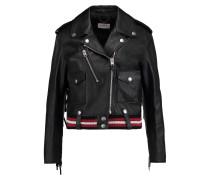 Fringed Appliquéd Leather Biker Jacket Schwarz