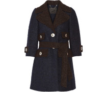 Two-tone Llama And Wool-blend Coat Navy