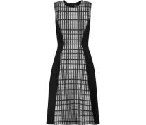 Printed wool blend-paneled crepe dress