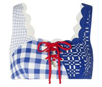 Wainscott Bikini-oberteil aus Stretch-crêpe mit Gingham-karo, Schnürung und Muschelsaum