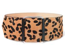 Leopard-print Calf-hair Belt Braun