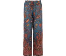 Niara Printed Cotton-blend Broadcloth Wide-leg Pants Mehrfarbig