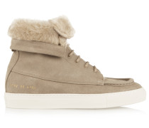Faux Shearling-lined Brushed-suede Ankle Boots Sand