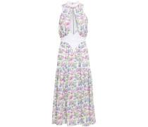 Paneled Cutout Floral-print Cady Midi Dress