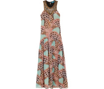 Embellished Printed Washed-silk Maxi Dress Puder