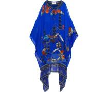 Mehrlagiges Kleid aus Chiffon und Crêpe De Chine aus Seide mit Print, Cut-outs und Verzierung
