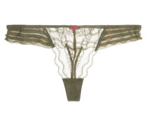 Lace And Silk-chiffon Thong Armeegrün