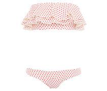 Sabine Ruffled Polka-dot Stretch-crepe Bandeau Bikini