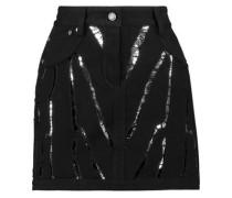 Sequin-embellished denim mini skirt