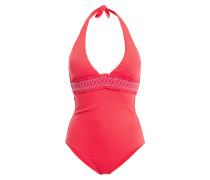 Cassis Smocked Stretch-piqué Halterneck Swimsuit