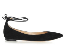 Suede Point-toe Flats Schwarz