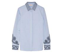 Keegan embroidered cotton-chambray shirt
