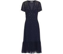 Embellished Gathered Chiffon Midi Dress