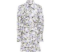 Belted Floral-print Linen Mini Shirt Dress
