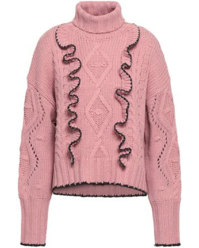 Woman Ruffle-trimmed Cable-knit Turtleneck Sweater Antique Rose