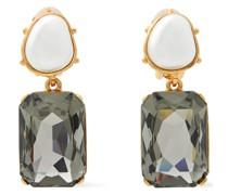 Goldfarbene Ohrclips mit Kunstperlen und Kristallen