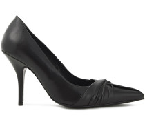 Woman Knotted Leather Pumps Black