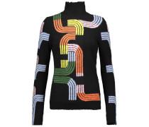 Intarsia Wool-blend Turtleneck Sweater Schwarz