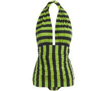 Bill Mio Ruched Striped Halterneck Swimsuit