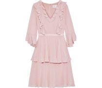 Grosgrain-trimmed Ruffled Chiffon Dress